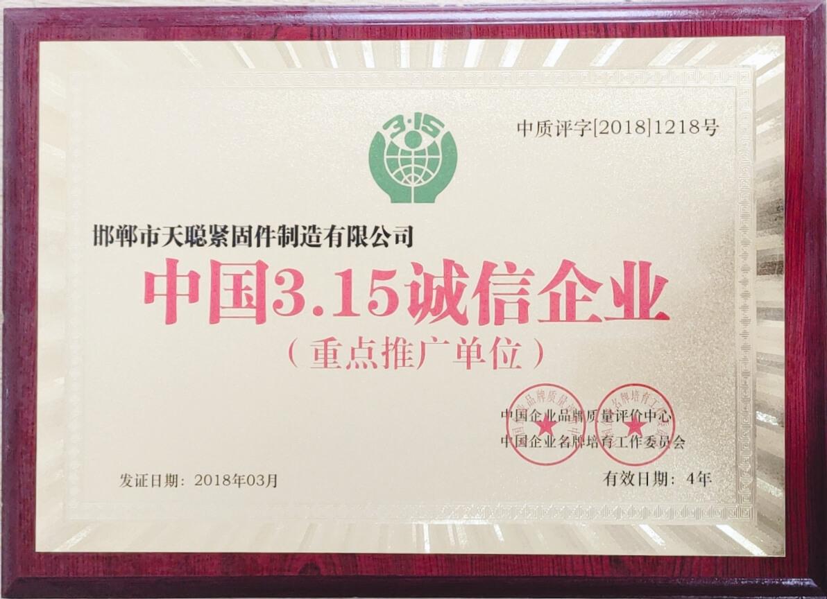 China 3.15 Integrity Enterprise (Key Promotion Unit)